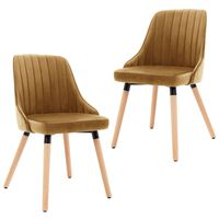 VidaXL Valgomojo kėdės, 2vnt., rudos spalvos, aksomas