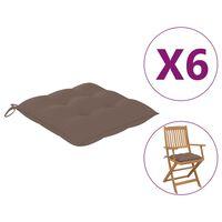 vidaXL Kėdės pagalvėlės, 6vnt., taupe spalvos, 40x40x7cm, audinys