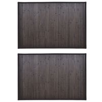 vidaXL Vonios kilimėliai, 2vnt., tamsiai rudi, 60x90cm, bambukas