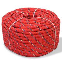vidaXL Jūrinė virvė, polipropilenas, 12mm, 50m, raudona