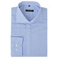 vidaXL Vyriški kostiumo marškiniai, dydis M, baltos/mėlynos juostelės