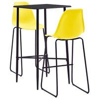 vidaXL Baro baldų komplektas, 3 dalių, geltonos spalvos, plastikas