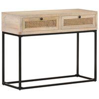 vidaXL Konsolinis staliukas, 100x35x76cm, mango mediena ir nendrės