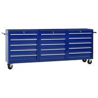 vidaXL Įrankių vežimėlis su 15 stalčių, mėlynos spalvos, plienas