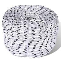 vidaXL Pinta virvė valčiai, balta, 500 m, poliesteris, 8 mm