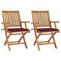 vidaXL Sodo kėdės su vyno raudonomis pagalvėlėmis, 2vnt., tikmedis