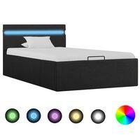 vidaXL Lovos rėmas su LED ir daiktadėže, pilkas, 100x200cm, audinys