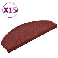 vidaXL Laiptų kilimėliai, 15vnt., raudonos spalvos, 65x24x4cm