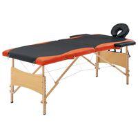vidaXL Masažinis stalas, juodas ir oranžinis, mediena, 2 zonų
