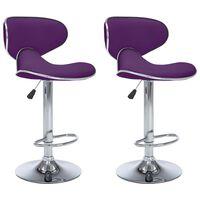 vidaXL Baro taburetės, 2vnt., violetinės spalvos, dirbtinė oda