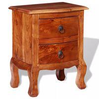 vidaXL Naktinis staliukas su stalčiais, tvirta akacijos mediena