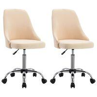 vidaXL Rolling Office Chairs 2 pcs Cream Fabric (323229)