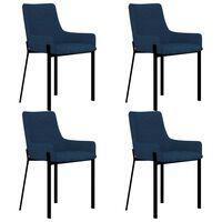 vidaXL Valgomojo kėdės, 4 vnt., mėlynos spalvos, audinys (2x282593)