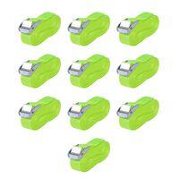 vidaXL Dirželiai 10 vnt, 0,25 tonų, 5mx25mm, fluorescenciniai žali