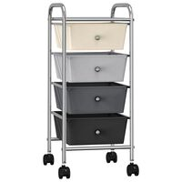 vidaXL Mobilus vežimėlis, 4 stalčiai, pereinančių spalvų, plastikas