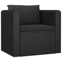 vidaXL Vienvietė sofa su pagalvėlėmis, juodos spalvos, poliratanas