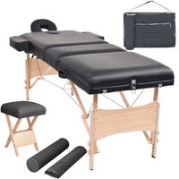 vidaXL 3 zonų sulankst. masaž. stalo ir kėdės komp., 10cm stor., juod.