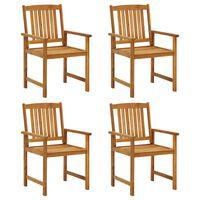vidaXL Režisieriaus kėdės, 4vnt., akacijos medienos masyvas