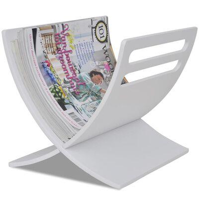 vidaXL Medinis žurnalų laikiklis, pastatomas, baltos sp.