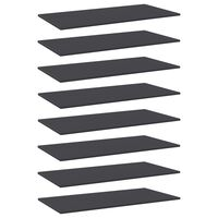 vidaXL Knygų lentynos plokštės, 8vnt., pilkos, 80x20x1,5cm, MDP