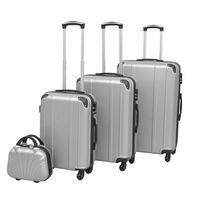 vidaXL 4 Kietų lagaminų su ratukais komplektas, sidabro spalvos