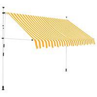 vidaXL Rankiniu būdu ištraukiama markizė, oranžiniai/balti dryžiai, 250cm
