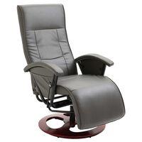 vidaXL TV krėslas, pilkos spalvos, dirbtinė oda, pasukamas