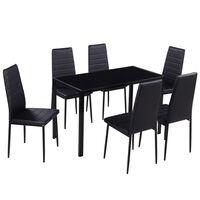 vidaXL 7 dalių valgomojo stalo ir kėdžių komplektas, juodas