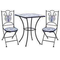 vidaXL Bistro baldų komplektas, 3d., mėlynas/baltas, mozaika, keramika