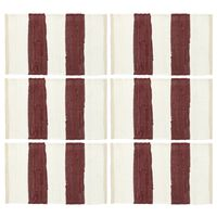 vidaXL Stalo kilimėliai, 6vnt., vyšninių+baltų dryžių, 30x45cm, chindi
