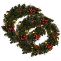 vidaXL Kalėdiniai vainikai, 2vnt., žalios sp., 45cm, su papuošimais