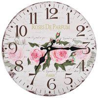 vidaXL Sieninis laikrodis virtuvei, 30 cm, vintažinio diz., su gėlėmis