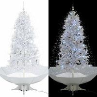 vidaXL Kalėdų eglutė su sniego fun. ir skėč. form. pagr., balta, 190cm