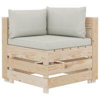 vidaXL Kampinė sodo sofa iš palečių su smėlio pagalvėmis, mediena