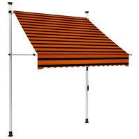 vidaXL Rankiniu būdu ištraukiama markizė, oranžinė ir ruda, 150cm