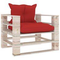 vidaXL Sodo sofa iš palečių su raudonomis pagalvėlėmis, pušies mediena