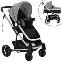 vidaXL 2-in-1 Vaikiškas sulankstomas vežimėlis, aliuminis, pilkas/juodas