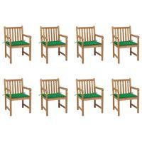 vidaXL Sodo kėdės su žaliomis pagalvėlėmis, 8vnt., tikmedžio masyvas