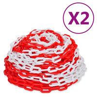 vidaXL Įspėjamosios grandinės, 2vnt., raudonos/baltos, plastikas, 30m