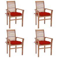 vidaXL Valgomojo kėdės su raudonomis pagalvėmis, 4vnt., tikmedis