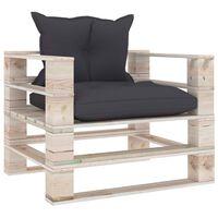 vidaXL Sodo sofa iš palečių su antracito pagalvėlėmis, pušies mediena