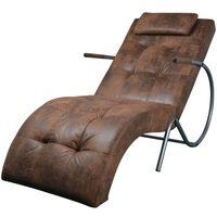 vidaXL Kušetė su pagalvėle, ruda, zomšos imitacijos audinys