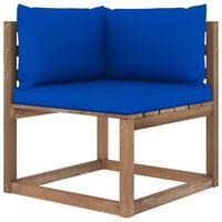 vidaXL Kampinė sodo sofa iš palečių su mėlynomis pagalvėlėmis