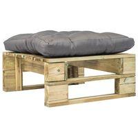 vidaXL Sodo otomanė iš paletės su pilka pagalvėle, žalia, mediena