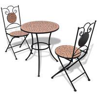 vidaXL Bistro baldų komplektas, 3d., terakota, keramikinės plytelės