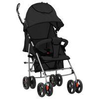 vidaXL Sulankstomas vaikiškas vežimėlis, juodas, plienas, 2-1