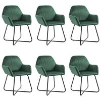 vidaXL Valgomojo kėdės, 6vnt., žalios spalvos, aksomas