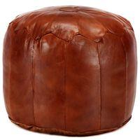 vidaXL Pufas, gelsvai rudas, 40x35 cm, tikra ožkos oda
