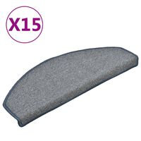 vidaXL Laiptų kilimėliai, 15vnt., šviesiai pilki ir mėlyni, 65x24x4cm