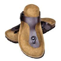 vidaXL Moteriški kamštiniai sandalai, rudi, 38 dydžio